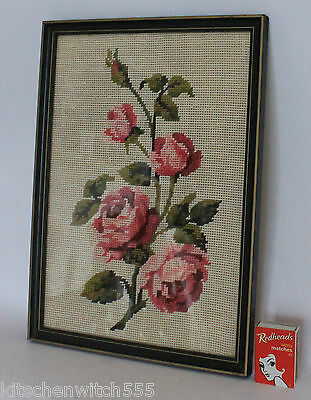Pink Roses Tapestry Needlework Wool Hand Made Frame Glass 32 x 23cm Vintage