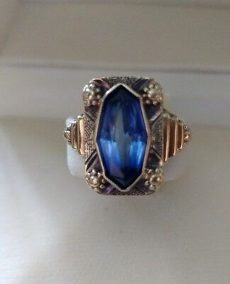 Ring antik Art Deco Gold 585 blauer Stein