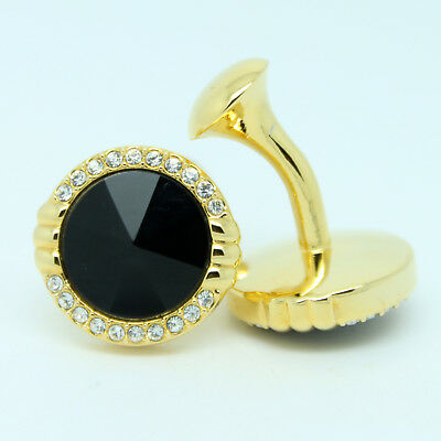 Gold and Black Patterned Circular Wedding Cufflinks with Stones