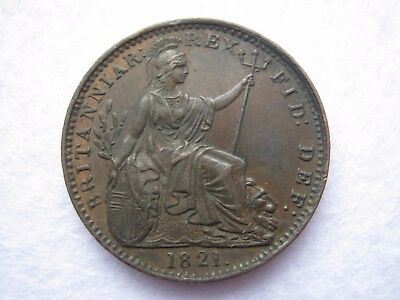 1821 King George IV or IIII Farthing coin - high grade (209)