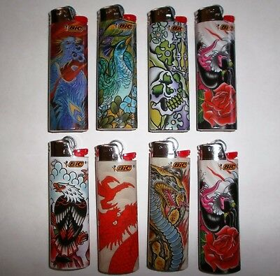 8 Bic New Tribal Tattoo Design Regular Size Disposable Lighters, Great Deal