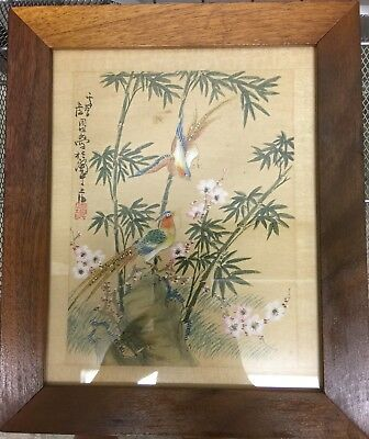 2 Chinese Silk Paintings Originals Framed Bird Blossom Flowers Butterfly Vintage