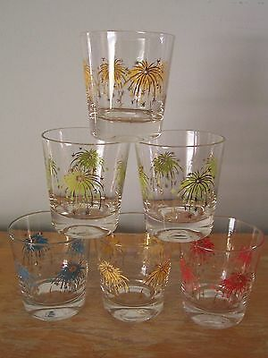 Lot Of 6 Mid Century Starburst Old Fashioned/cocktail Glasses