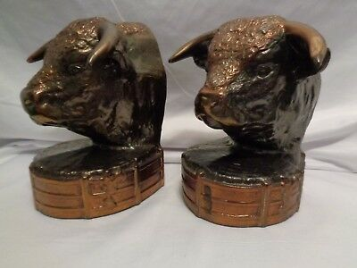 1940s Gladys Brown Edwards Dodge Bull Bookends Copper Bronzed