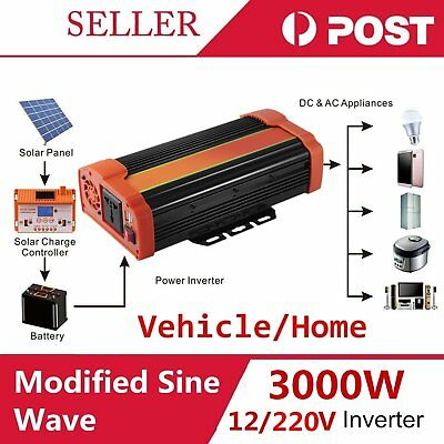 Pro Sine Wave 3000W Max 6000W 12-220V Watt Power Inverter Car Caravan Camping P