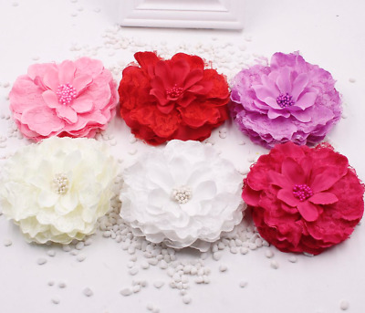 NEW Beautiful Large Fabric & Lace Flower Hair Clip, 6 Colours, UK Seller
