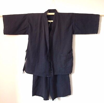 Authentic Japanese jinbei for men, traditional summer wear, M, poor cond.(H1697)