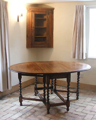 Oak Gateleg Table,  Drop Leaf Sides, Barley Twist Legs