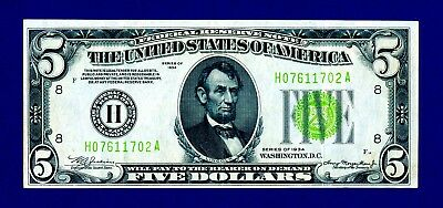 1934 $5 LIME GREEN SEAL FEDERAL RESERVE NOTE     Fr.1955-H - LGS  SHARP & CRISPY