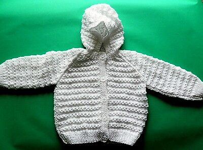 Hand Knitted Baby Cardigan in White with Hood. 9-12 Months.
