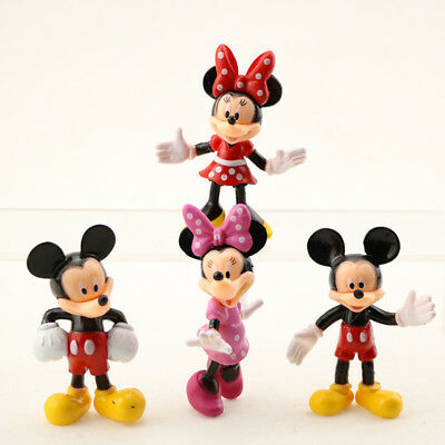 4 X Mickey Mouse Clubhouse action Figure Set Minnie Toy Cake Topper Boy Girl Toy