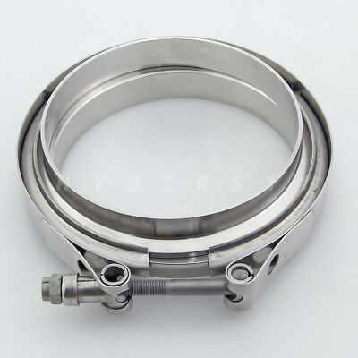 """5"""" V-band Clamp Kit 304 Stainless Steel 2 Flanges for exhaust turbocharger"""