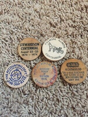 Lot Of Five 5 Wooden Nickles IL Maine