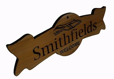 Personalized Carved Cedar Wood Ribbon Door Sign made with Your Family Name