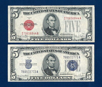 1928F $5 Red Seal Legal Tender  1934D $5  Silver Certificate - The Big Fives !