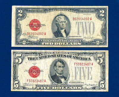 1928 F $2 Red Seal  & 1928 C $5 Red Seal  Old Money Legal Tender  Big Two & Five