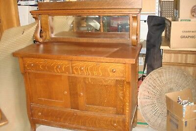 Antique Tiger Oak Sideboard or Buffet with Mirror
