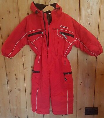 OK Co. Ski Suit Lined Unisex Kids Size 4 RED Snow Suit All In One VERY GOOD