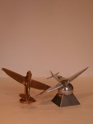 Art Deco Pair Airplanes Desk Model Spitfires Avion Flugzeug