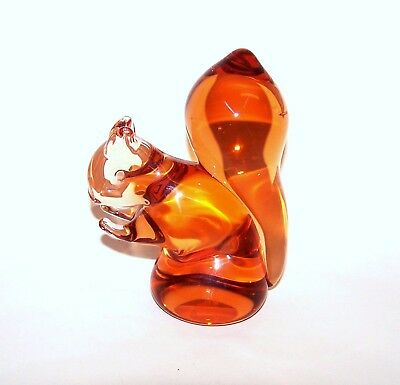 Wedgwood Glass Red Squirrel Ornament/Paperweight, Amber Glass