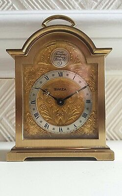 vintage swiza tempus fugit brass 8 day alarm carriage mantle  clock swiss made