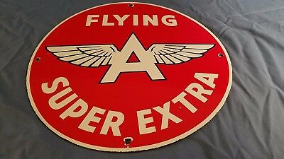 Vintage Flying A Gasoline Porcelain Gas & Oil Service Station Pump Plate Sign
