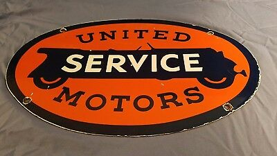 Vintage Ford United Motors Porcelain Gas & Oil Service Station Pump Plate Sign