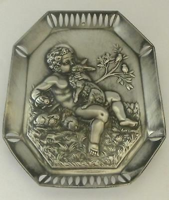 Art Nouveau WMF Card Tray or Wall Plaque: Cherub with Rabbit: dated 1911
