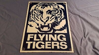 Vintage Flying Tigers Porcelain Aviation Gas Service Station Pump Plate Sign