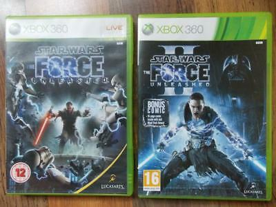 Star Wars The Force Unleased & Star Wars Force Unleased 2-Xbox 360-Complete-Vgc