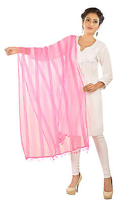 Indian Plain Solid Dupatta Long Scarf polyester Baby Pink Veil Stole Hijab PUM08