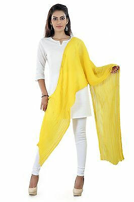 Indian Plain Solid Dupatta Long Scarf chiffon Yellow Veil Stole Hijab CRS1-0