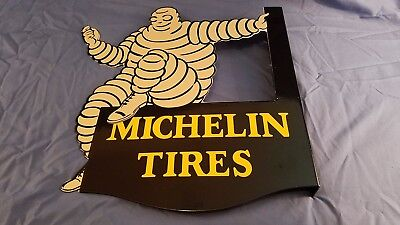 Vintage Michelin Tires Porcelain 2 Sided Gas Auto Service Station Flange Sign
