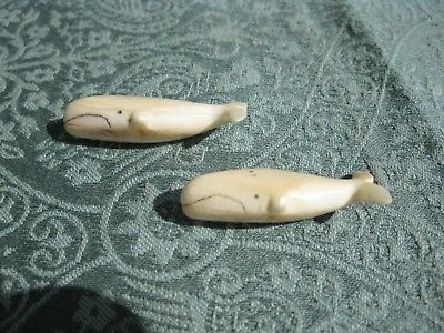 Two OLD Antique Whale Figural Buttons - Bone?