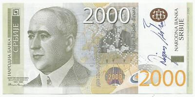 Serbia 2000 dinara 2011. UNC SPECIMEN in special folder of the National Bank