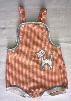 Vintage CARTER'S Orange Gingham Cat Appliqué Romper 24 Months