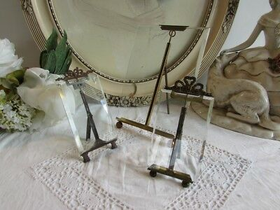 Antique French set of 3 glass photo frames with ormolu stands and bow decoration