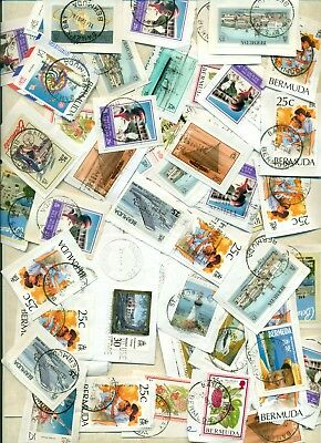 LOT 787 BERMUDA  USED QEII  TOWN CANCELS SOME RARE. 2 PHOTOS about 100 pcs