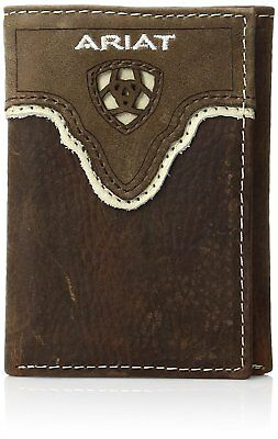 Ariat Western Mens Wallet Leather Trifold Distressed Brown A35291283