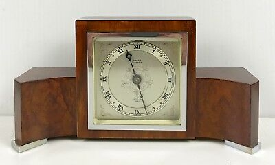 Elliott Art Deco Burl Walnut Mantle Clock
