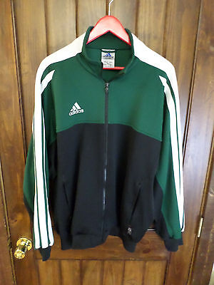 Adidas black, green and white, full zip, thick fitness jacket, Men's L