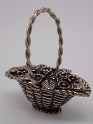 Vintage Solid Silver Basket w/t Flowers Miniature / Figurine - Stamped - Italian