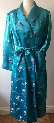 Vintage 50's Heavy Silk Dressing Gown Robe Bright Blue 12 14 40 Burlesque Pin Up