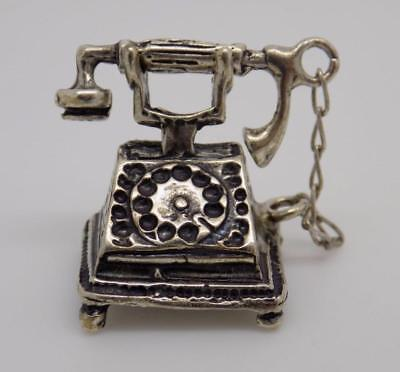 Vintage Solid Silver Old Phone Miniature / Figurine - Stamped - Made in Italy