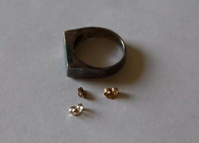 Scrap Gold and Silver Lot Earring Backs and Ring .925, 10k, and 14k