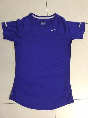 Nike Dri-Fit Womens active shirt fitted top blue small short sleeve