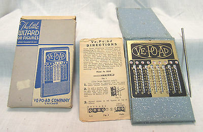 Vintage Ve Po Ad Complete Adding Machine With Stylus