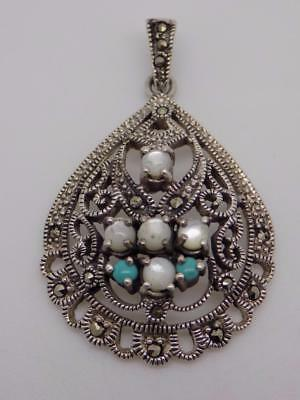 Vintage-Style Sterling Silver 925 Turquoise Paste & Mini Pearls Pendant - Stamp