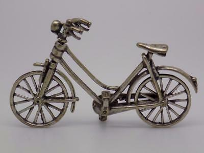 Vintage Solid Silver Handworked Bicycle Miniature / Figurine - Stamped - Italian