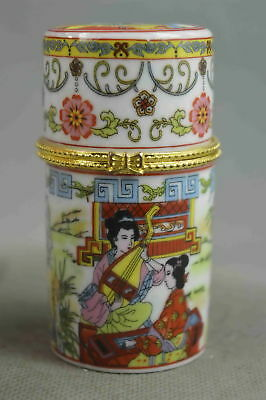 Collectable Handwork  Porcelain Paint Classical Belle Auspicious Toothpick Box